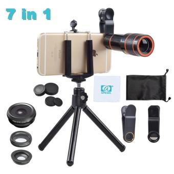 APEXEL? APL-HS12XDG3? 7In1 Wide Angle/Fisheye/Macro/Tripod Phone Camera Lens Kit-Intl