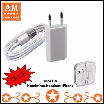 Apple Charger iPhone 5/5c/5s/6/6s/6+/6splus kabel data Original + Handsfree/Headset Iphone Ori