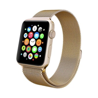 Apple Watch Band - 38mm gold Milanese Loop Stainless Steel Bracelet Strap Magnetic Closure Clasp -
