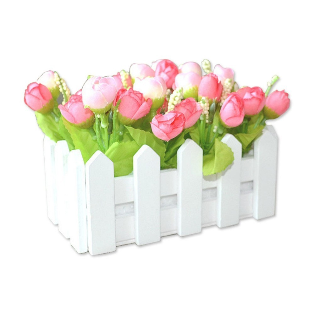 Artificial Flowers Small Potted Plant Simulation Artificial Flower Plant Set In Picket Fence