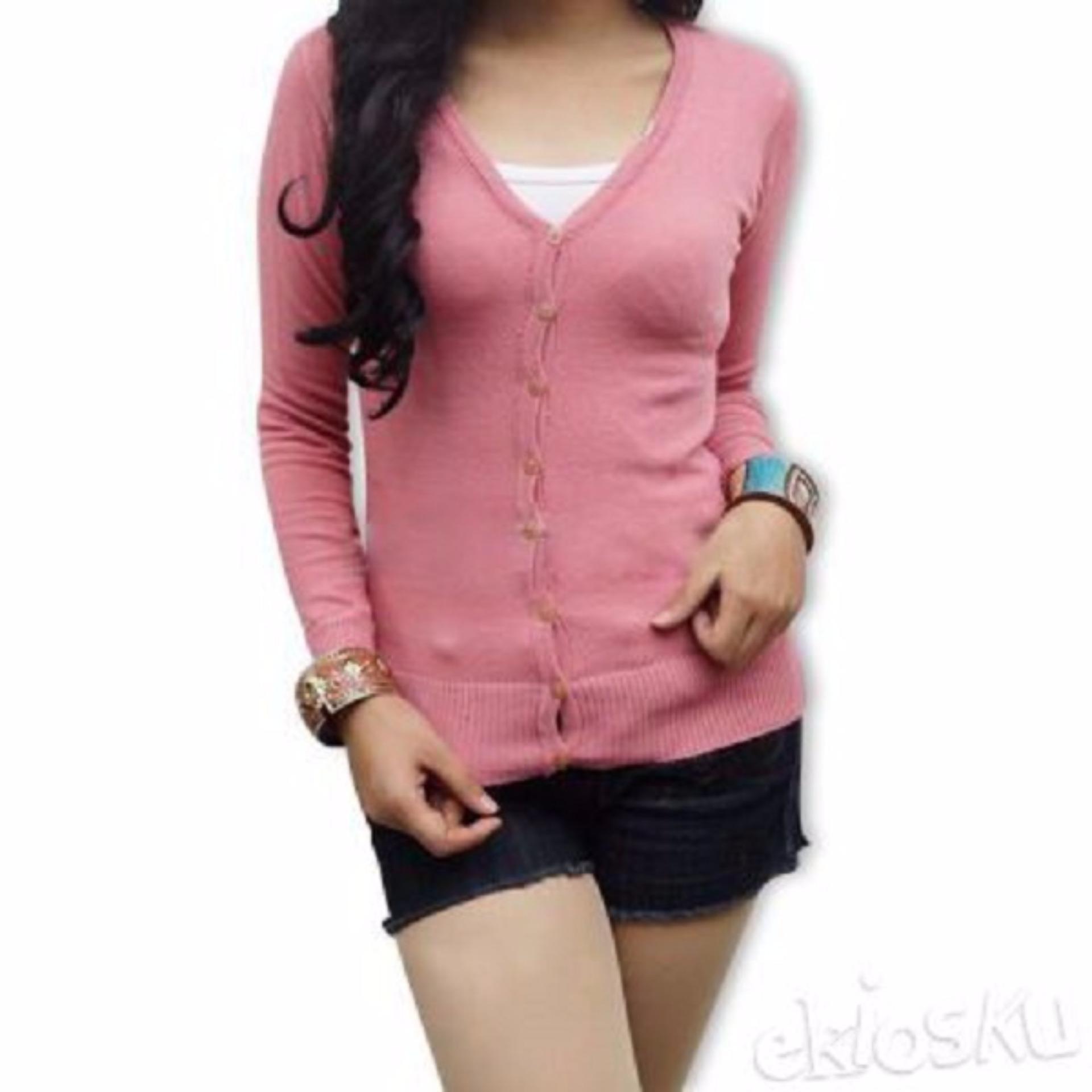 Atasan Wanita - Cardigan - Basic Cardy - Spandek Knite - Pink Dusty