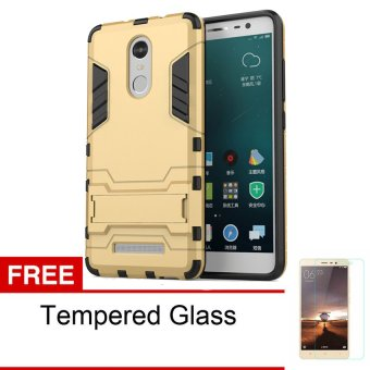 Back Case Xiaomi Redmi Note 3 Pro Iron Man Kick Stand Series + Tempered Glass -