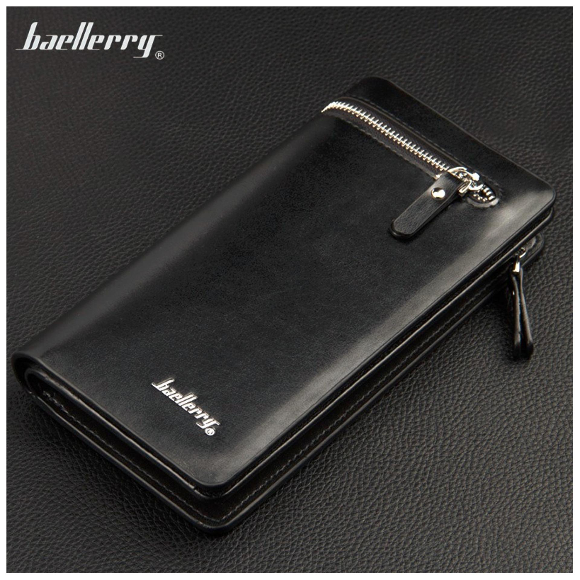 Baellerry Dompet Pria Fashion Import PU leather business long wallet with zipper - Hitam