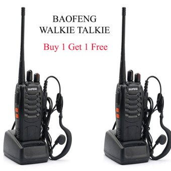 Baofeng Walkie Talkie Black Walkie Talkie HT (Handy Talkie) BF-888S UHF 16CH ( Buy 1 Get 1 FREE / Dapat 2 Buah Walkie Talkie ) - Hitam