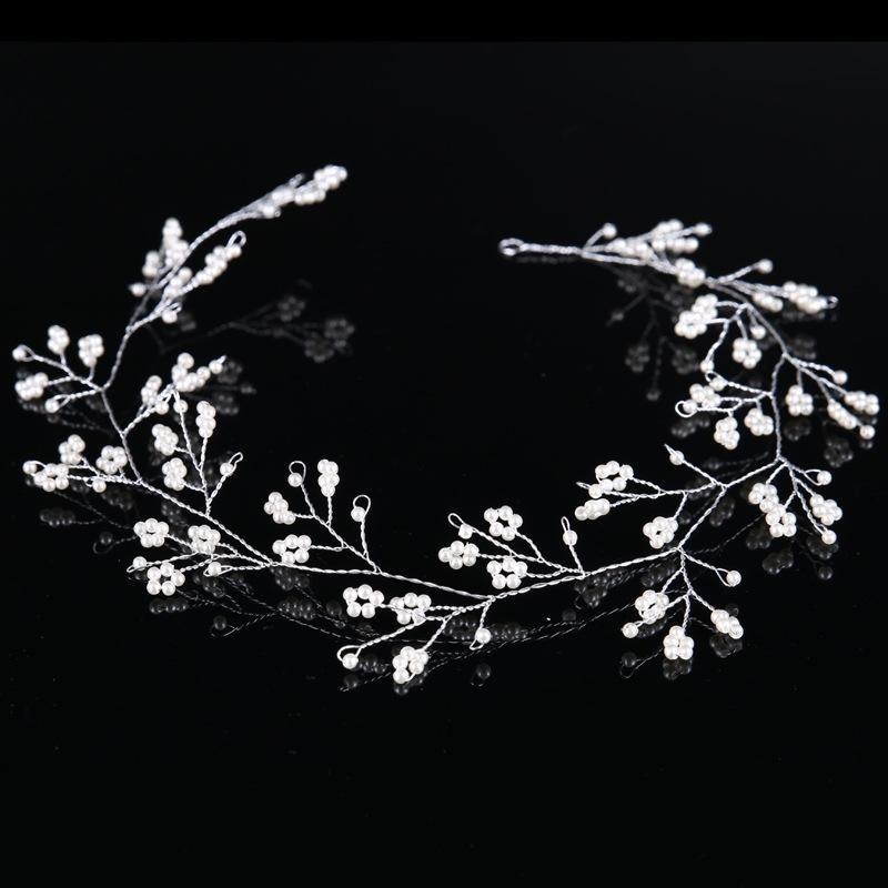 Berlapis Perak Noble Tiara Mewah Bridal Headband Bulang Grosir Perhiasan Mutiara Pernikahan Mahkota Rambut Fashion-