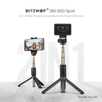 BlitzWolf BW-BS3 Sport Serbaguna 3 In 1 Bluetooth Tripod Selfie Sticks untuk Sport Camera