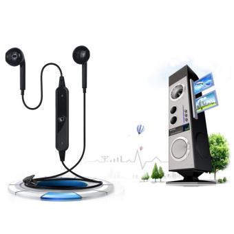 Bluetooth 4.0 Sport Earphone Nirkabel Headset Headphone Kedap Keringat untuk S6 LG (Hitam)-
