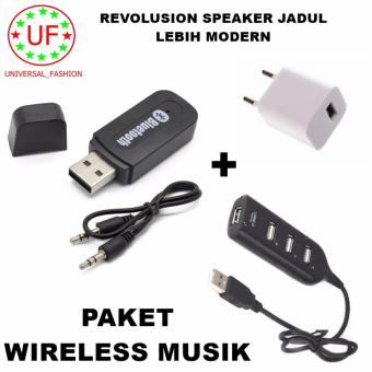 Bluetooth Audio Receiver Wireless Musik - hitam + Adapter Charger + Kabel USB Hub 4 Port