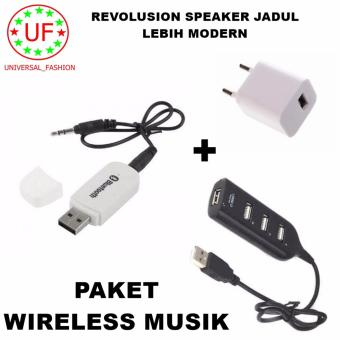 Bluetooth Audio Receiver Wireless Musik - Putih + Adapter Charger + Kabel USB Hub 4 Port