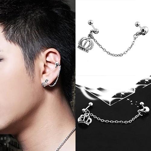 BODHI Punk Gaya Bedah Steel Crown Skeleton Ear Stud Rantai Anting Piercing Perhiasan-Intl