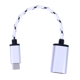 Braided Type-C USB 3.1 Male to USB Female OTG Adapter Data Sync Cable Cord(Silver) - intl