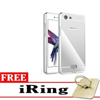 Case Aluminium Bumper Mirror for OPPO a31t Neo 5 oppo neo5 - silver + Free iring