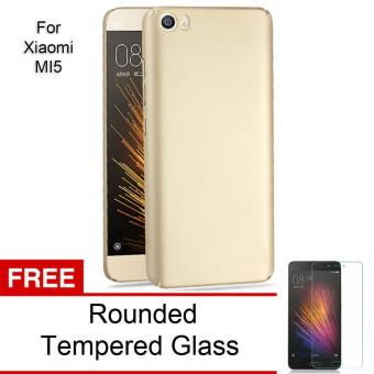 Calandiva 360 Degree Protection Slim Hardcase Premium Quality Grade A for Xiaomi MI 5 / Mi 5 Pro - Gold + Free Rounded Tempered Glass