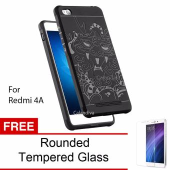 Calandiva Dragon Shockproof Hybrid Case for Xiaomi Redmi 4A / Redmi 4A Prime - Hitam + Gratis Rounded Tempered Glass