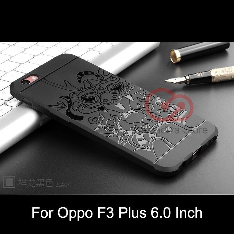 Calandiva Dragon Shockproof Hybrid Case untuk Oppo F3 Plus (6 Inch) - Hitam