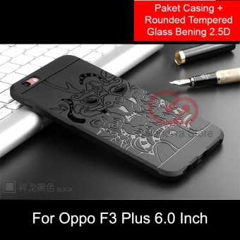 Calandiva Dragon Shockproof Hybrid Case untuk Oppo F3 Plus 6 Inch - Hitam + Rounded Tempered