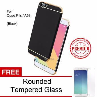 Calandiva Premium Quality Elegance Protection Hardcase for Oppo F1s / A59 / A59S 5.5 Inch - Black + Rounded Tempered Glass