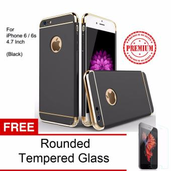 Calandiva Premium Quality Elegance Protection Hardcase for Iphone 6 / 6s 4.7 Inch - Black + Rounded Tempered Glass
