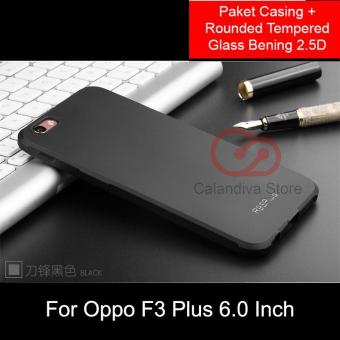 Calandiva Shockproof Hybrid Premium Grade A Softcase for Oppo F3 Plus (6 Inch) - Hitam + Rounded Tempered Glass