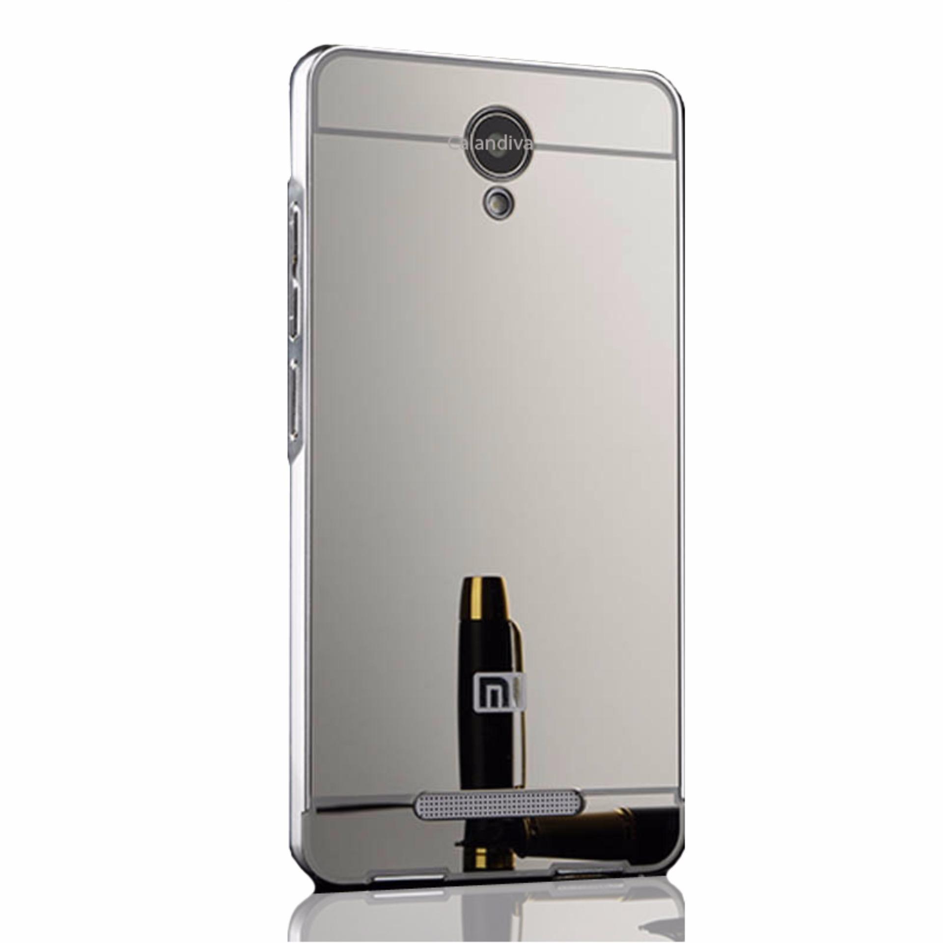 Calandiva Xiaomi Redmi Note 2 Mirror Backcase with Metal Bumper - Silver