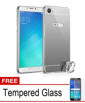 Case Aluminium Bumper Mirror for OPPO F1 Plus - Silver + Free Tempered Glass