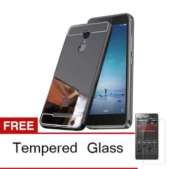 Case Aluminium Bumper Mirror For Xiaomi Redmi Note 4 - Hitam + Gratis Tempered Glass .