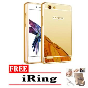 Case Aluminium Bumper Mirror sleding for OPPO a33 Neo 7 oppo a33 neo7 - gold + Free iring stand