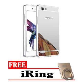 Case Aluminium Bumper Mirror sleding for OPPO a33 Neo 7 oppo a33 neo7 - silver + Free iring stand