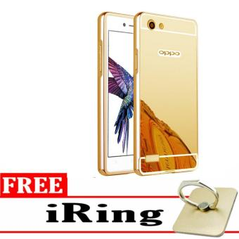 Case Aluminium Bumper Mirror for OPPO a31t Neo 5 oppo neo5 - gold + Free iring stand