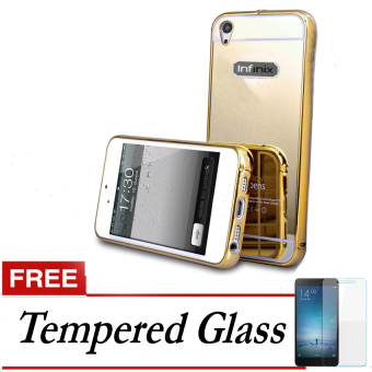Case Aluminium Bumper With Sliding Mirror For Infinix Hot Notex551 - Emas + Gratis Tempered Glass