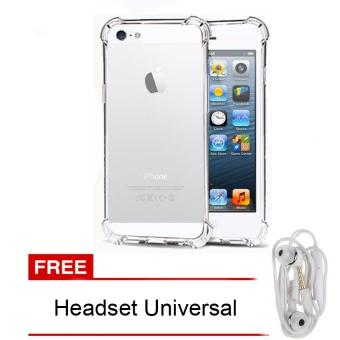 Case Anti Shock / Anti Crack Elegant Softcase for Apple iPhone 5 / 5s / 5G - White Clear + free Headset Universal