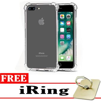 Case Anti Shock / Anti Crack Elegant Softcase  for Apple iPhone 7 Plus - White Clear + Free iRing