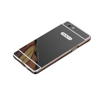 Case Bumper Oppo F1s Selfie Expert Aluminium Mirror With Sliding Backcase Hardcase Casing Hp-Black