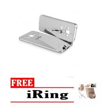 Case chrome Samsung Galaxy J5 2016 J510 Alumunium Bumper Mirror Sleding - silver + free iring