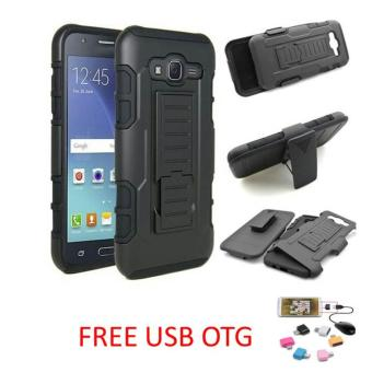 CASE EXECUTIVE BLACK ARMOR DUAL LAYER KICKSTAND HOLDER CELL WITH STAND FOR SAMSUNG GALAXY J2 PRIME