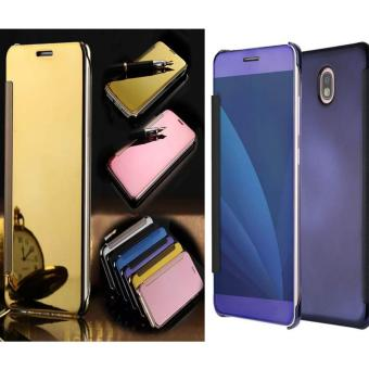 Case Executive Samsung Galaxy J7 Pro Flipcase Flip Mirror Cover S View Transparan Auto Lock Casing Hp- Random color