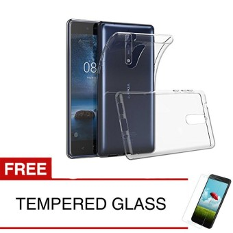 Case for Nokia 8 2018 - Clear + Gratis Tempered Glass - Ultra Thin Soft Case