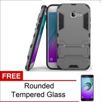 Case For Samsung Galaxy A3 2017 Iron Man Armor Series - Grey + Tempered Glass
