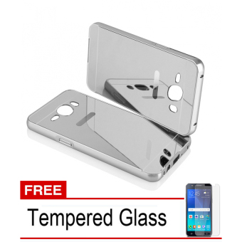 Case For Samsung Galaxy J1 2016 Bumper Slide Mirror - Silver + Free Tempered Glass