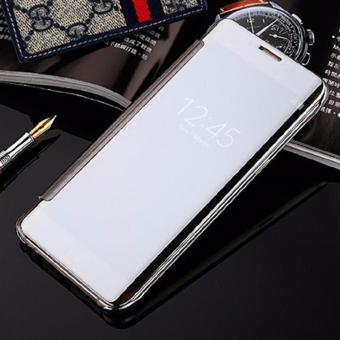 Case For Samsung Galaxy J5 Pro Flipcase Flip Mirror Cover S View Transparan Auto Lock Casing Hp- Silver