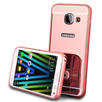 Case For Samsung Galaxy J7 Prime Bumper Slide Mirror - Rose Gold + Free Tempered Glass