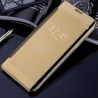 Case For Samsung Galaxy J7 Pro Flipcase Flip Mirror Cover S View Transparan Auto Lock Casing Hp- Gold