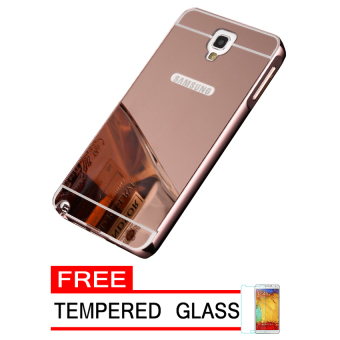 Case For Samsung Galaxy Note 3 Neo Bumper Slide Mirror - Rose Gold + Free Tempered