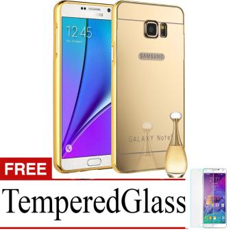 Case for Samsung Galaxy Note 5 Alumunium Bumper With Mirror Backdoor Slide - Emas + Gratis