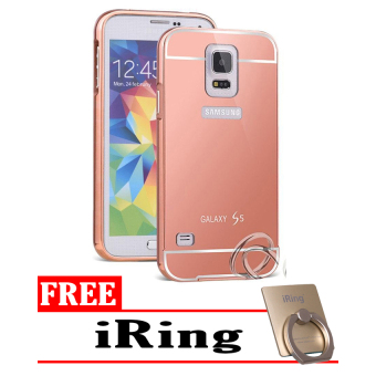 Case For Samsung Galaxy S5 Bumper Slide Mirror - Rose Gold + Free iRing