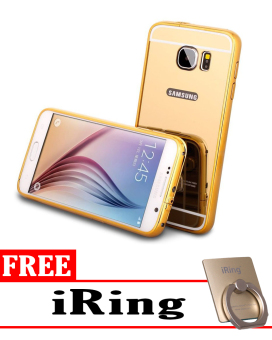 Case for Samsung Galaxy S7 Aluminium Bumper With Mirror Backdoor Slide - Gold + Free iRing