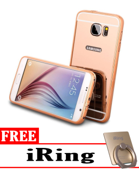 Case for Samsung Galaxy S7 Aluminium Bumper With Mirror Backdoor Slide - Rose Gold + Free