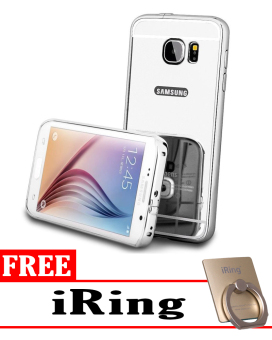 Case for Samsung Galaxy S7 Aluminium Bumper With Mirror Backdoor Slide - Silver + Free iRing
