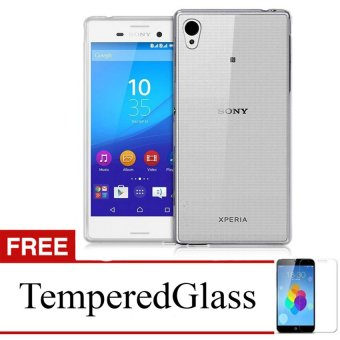 Case for Sony Xperia M4 Aqua - Abu-abu + Gratis Tempered Glass - Ultra Thin Soft Case