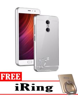 Case for Xiaomi Redmi Pro Aluminium Bumper With Mirror Backdoor Slide - Silver + Free iRing